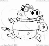 Devil Bank Clipart Cartoon Coloring Robbing Outlined Vector Thoman Cory Royalty sketch template
