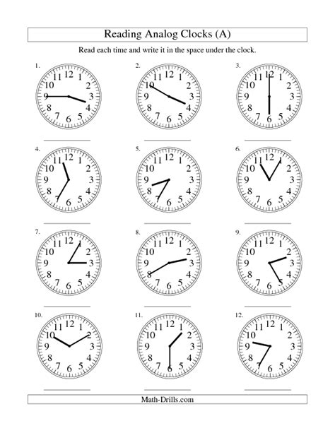 measurement worksheet reading time on an analog clock
