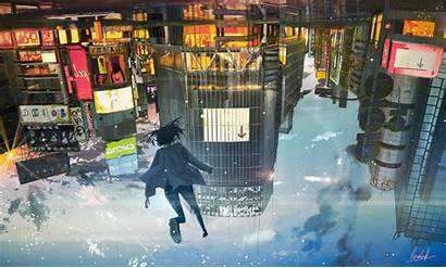 Anime Upside Down Floating Sky Wallpapers Wallpapermaiden