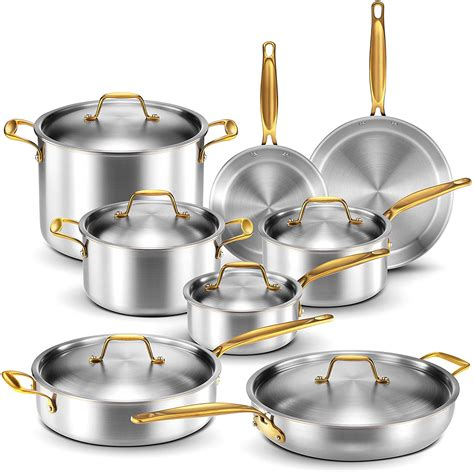 legend stainless steel  ply copper core  piece cookware set professional home chef grade