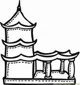 Coloring Temple Buddhist Pages Terrace Drawing Printable Mayan India Chinese Pagoda Temples Colour Buddhism Religions Drawings Children Sketch Buddhists Template sketch template