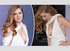 Braless Amy Adams risks MAJOR wardrobe malfunction in