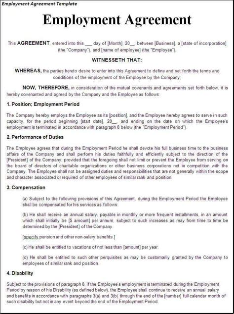 top   employment agreement templates word templates