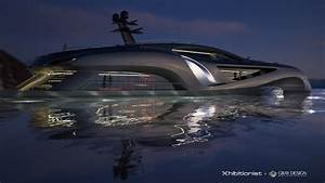 Luxury yacht Xhibitionist concept at night — Yacht Charter ...