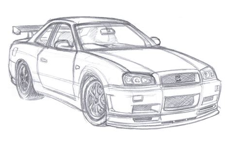 nissan skyline drawing outline nissan skyline r34 by wannabemustangjockey on deviantart