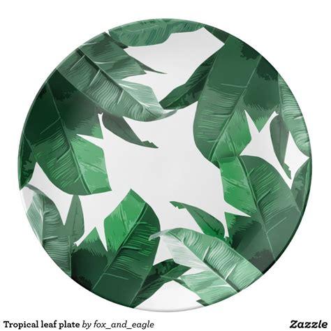 tropical leaf decorative porcelain plate zazzlecom palm print art tropical palm print