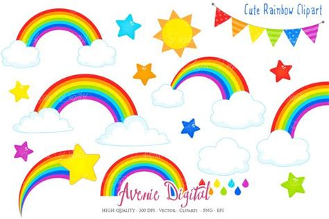Cute Rainbow Clipart + Vector By Avenie Digital On