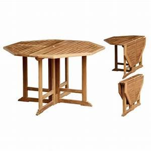 Table Teck Jardin : table octogonale pliante en teck massif 120x120x75cm ~ Teatrodelosmanantiales.com Idées de Décoration