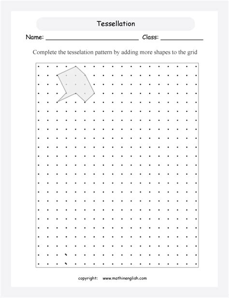 complete the tessellation pattern by adding more of these compound shapes to the grid grade 4