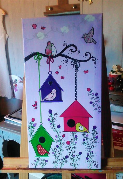 peinture chambre fille 10 ans quot les nichoirs quot toile acrylique 30x60 cm une fée à ma
