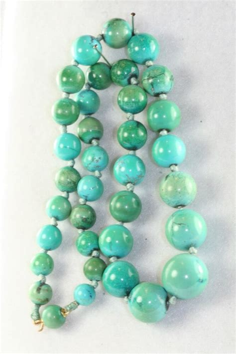 vintage restrung  gold natural turquoise beads