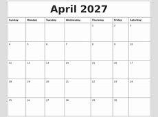 April 2027 Calendar