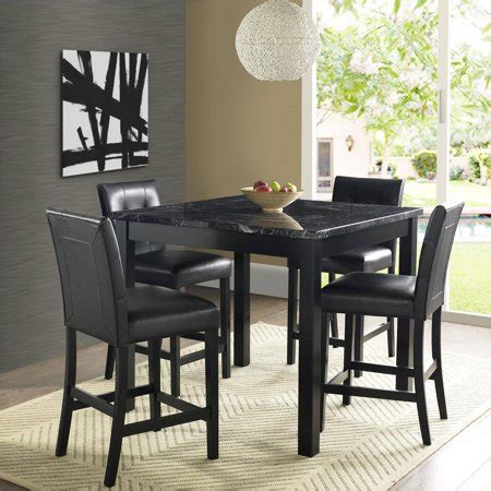 high marble kitchen table 5 faux marble leather counter height dining set