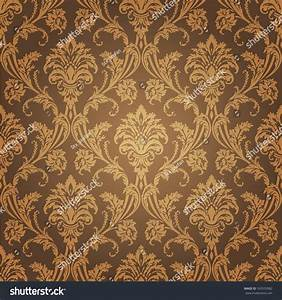 Golden Floral Wallpaper Old Style Retro Stock Vector