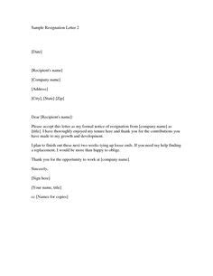 Format Formal Letter Resignation Resume For Job Application Moving Canada - resignation letter