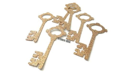 Champagne Gold Glitter Vintage Key 2.5 Cut-outs