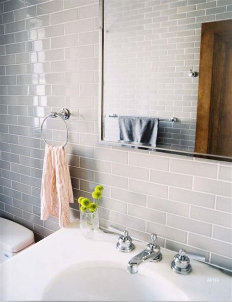 Minimalist Bathroom Photos  Gray Subway Tiles, Grout And