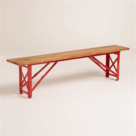 beer garden table and benches red beer garden dining bench world market