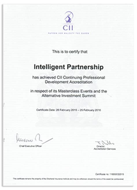 Chartered insurance institute (cii) this is the professional and educational. CPD Accreditation - Intelligent Partnership