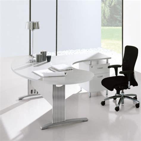bureau arrondi bureau blanc avec retour sur caisson portland