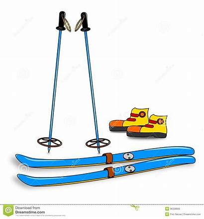 Ski Clipart Skis Equipment Boots Poles Skiers