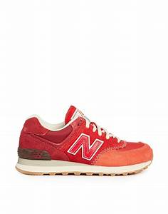 New balance Red Suede 574 Trainers in Red | Lyst