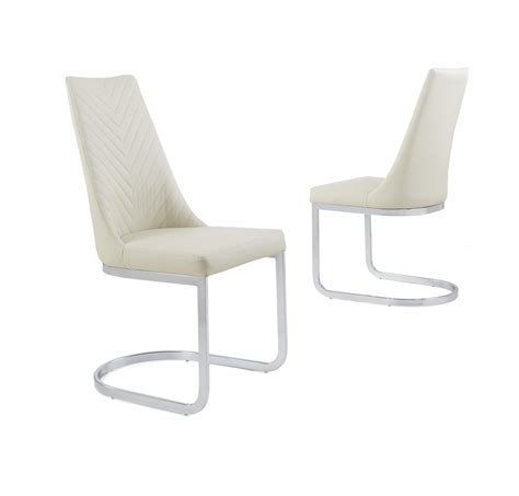 cream faux leather dining chair  curved leg homegenies