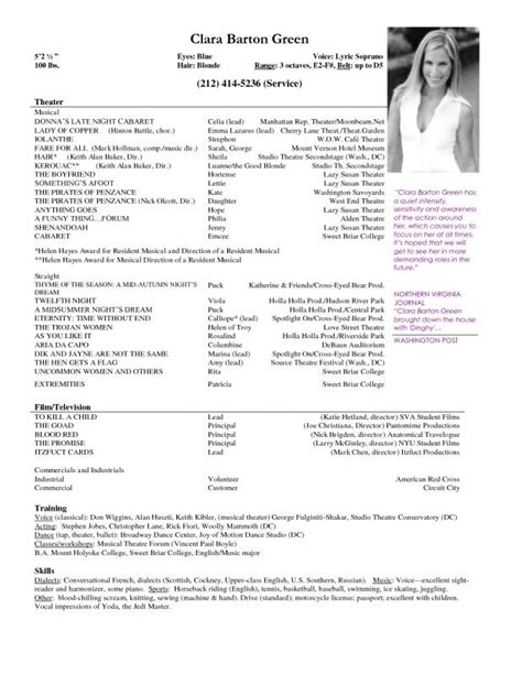 Theater Resume Exle by Theatre Resume Template Template Business