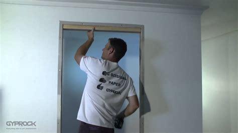 installing gyprock plasterboard filling  doorway