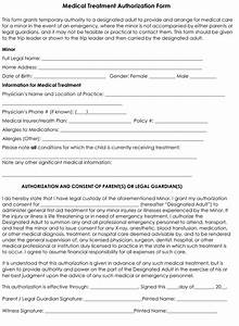 Child Medical Consent Form Templates 6 Samples for Word