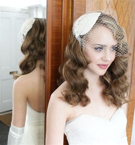 style hair ivory birdcage veil with lace and silk by agneshart on 7044