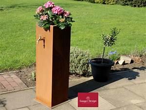 Gartenbrunnen Aus Cortenstahl : wasserzapfs ule aus cortenstahl mit pflanzbecken p3485 ~ Sanjose-hotels-ca.com Haus und Dekorationen