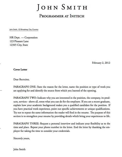 cover letter setup letter template