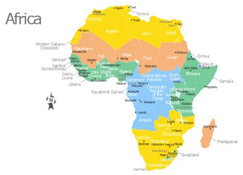 africa map  countries main cities  capitals template