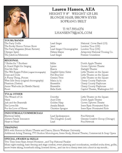 Actor Resumes by Resume Acting Resume Template And Acting On