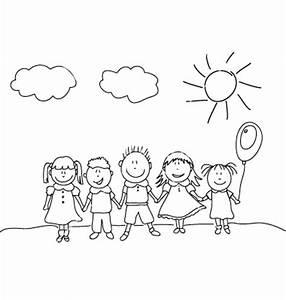 Happy Kids Clipart Black And White - ClipartXtras