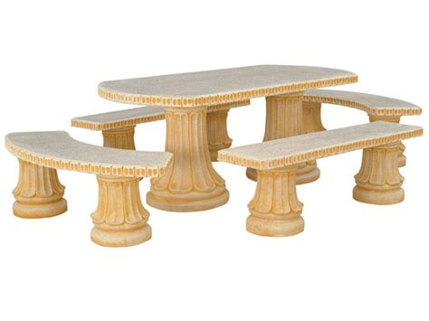 table de jardin en reconstituee salon jardin quot romantica quot 1 table 2 bancs 2 arrondis 24768