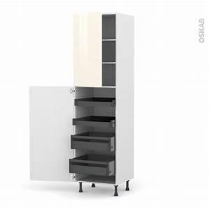 Armoire Rangement Cuisine : colonne de cuisine n 2427 armoire de rangement keria ivoire 4 tiroirs l 39 anglaise l60 x h217 x ~ Teatrodelosmanantiales.com Idées de Décoration