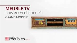 Meuble Bois Recyclé : meuble tv en bois color recycl grand mod le youtube ~ Teatrodelosmanantiales.com Idées de Décoration