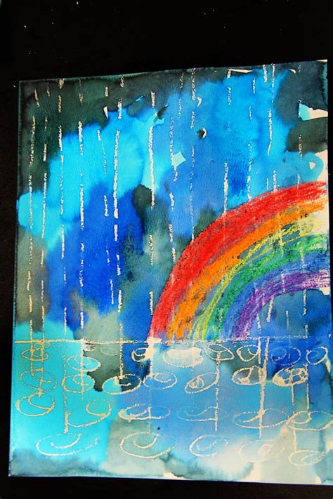 winter rain watercolor resist lost sock art teacher