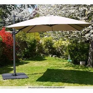 Parasol Grande Taille : parasol d port rotatif 360 carr 3x3m taupe achat vente parasol parasol d port carr 3x3m ~ Melissatoandfro.com Idées de Décoration