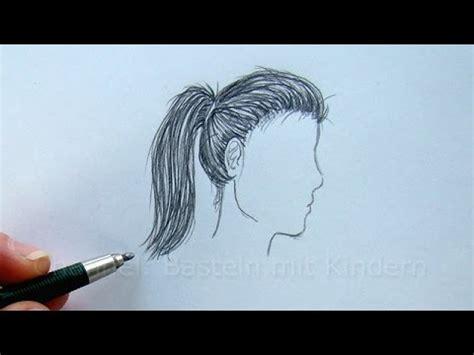 malen mit bleistift zeichnen lernen haare zeichnen im profil mit bleistift frisur malen