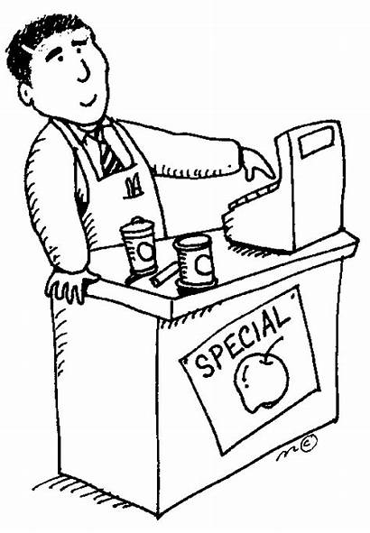 Cashier Clipart Grocer Community Pages Coloring Drawing