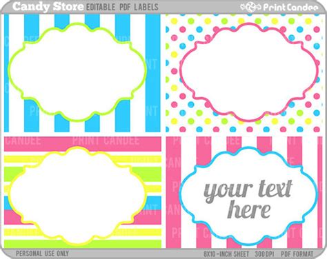 rectangle editable   candy store labels