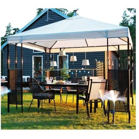 ikea ammero gazebo beige with brown frame patio