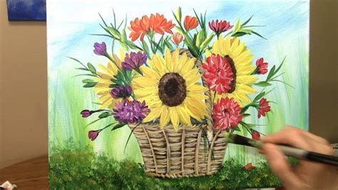 How To Paint A Basket Of Harvest Flowers In Acrylic