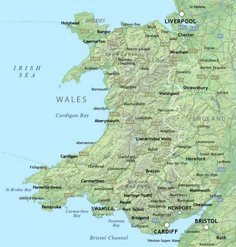map  wales  relief  cities wales united