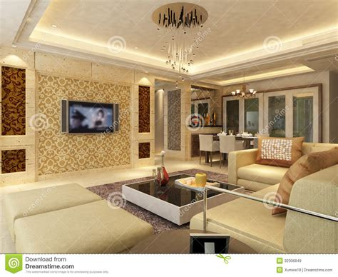 home interior 3d rendering royalty free stock images