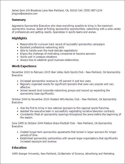 free sponsorship resume template professional sponsorship executive templates to showcase your talent myperfectresume