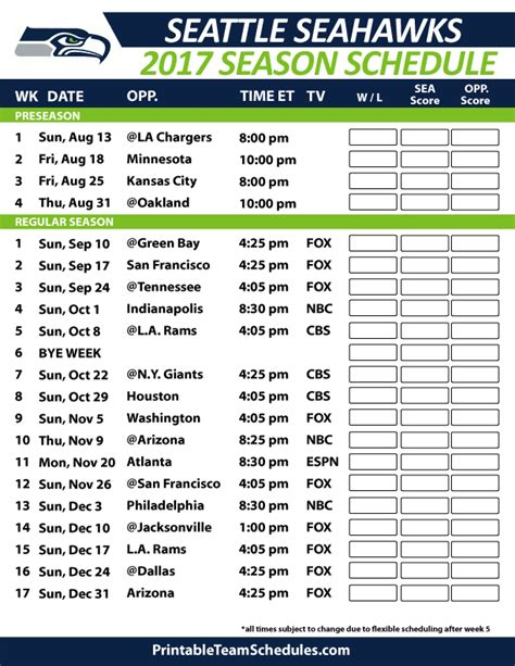 seattle seahawks football schedule  nfl football